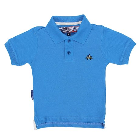 Polo Infantil Masculina Azul Lisa Rodeo Western 22596