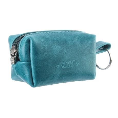 Porta Moedas de Couro Azul Turquesa DH Couros 28583