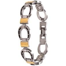 Pulseira Sabona Men's Horseshoe em Aço Inoxidável com Chapeamento em Ouro 18K