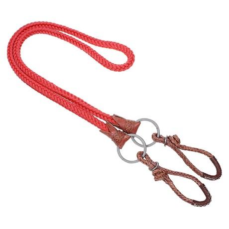 Rédea de Nylon Trançada Vermelha com Argolas Inox A Pantaneira 24901