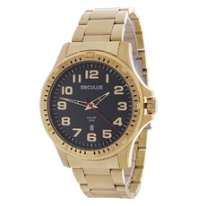 Relógio Masculino Dourado 5ATM Long Life Seculus 24978