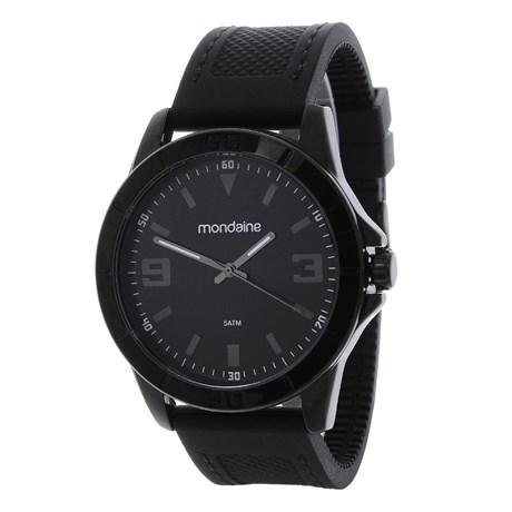 Relógio Mondaine Masculino Preto 5 ATM Pulseira de Silicone 24963