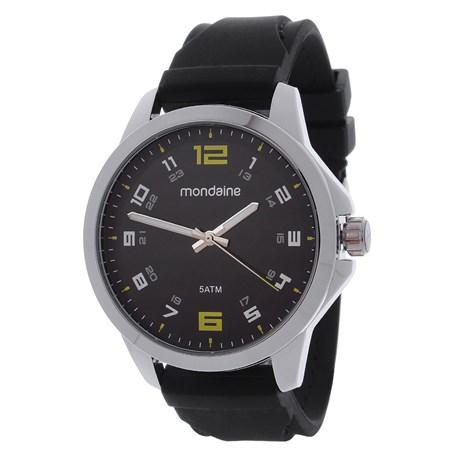 Relógio Mondaine Preto 5ATM Masculino Pulseira de Silicone 24964
