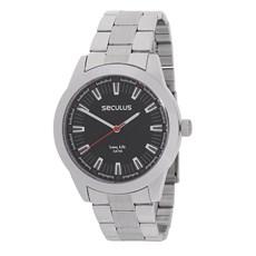 Relógio Prata Masculino Seculus Long Life e Canivete 23810