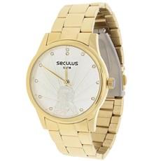 Relógio Seculus Feminino Dourado e Colar Jesus Cristo 22041