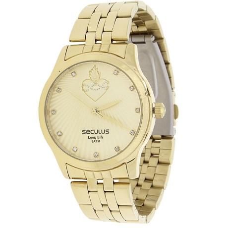 Relógio Seculus Feminino Dourado e Colar Sagrado Coração 22039