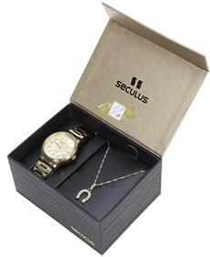 Relógio Seculus Feminino Long Life 5ATM e Colar Ferradura 22040