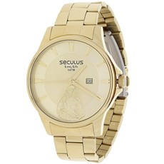 Relógio Seculus Long Life Masculino e Colar Jesus Cristo 22045