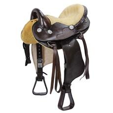 Sela Australiana para Cavalo Marrom Bordada Assento 15'' Bronc-Steel 23394