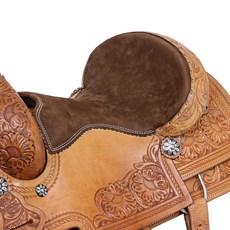 Sela de Laço Profissicional 15'' Couro Natural com Oléo  Bordada Rodeo West 28224