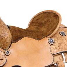 Sela de Laço Profissional em Couro Natural 16'' Argolas em Aço Inox Rodeo West 29155