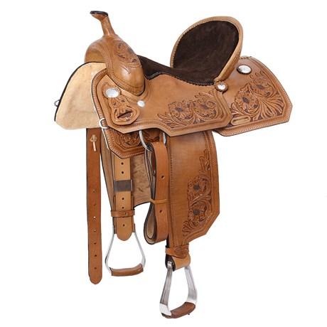 Sela de Tambor e Team Penning 15'' Natural com Oléo Aba Quadrada Rodeo West 25989