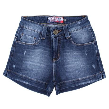 Short Feminino Jeans Azul Rodeo Western com Elastano 24701