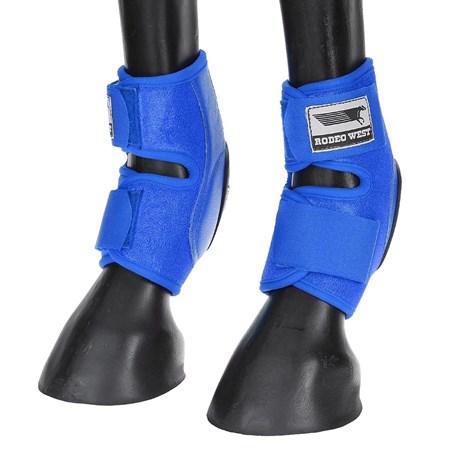 Skid Boot Baixo para Cavalo Fabricado em Couro e Neoprene Azul - Rodeo West 18281