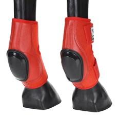 Skid Boot Baixo para Cavalo Fabricado em Couro e Neoprene Vermelho - Rodeo West 18279